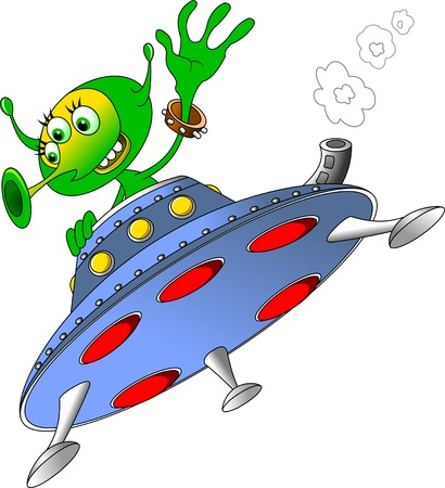 hover: Green man waving from the spacecraft, the vector