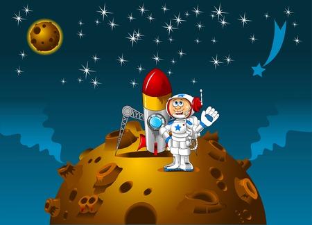 paisaje lunar: Moonscape con el astronauta de dibujos animados