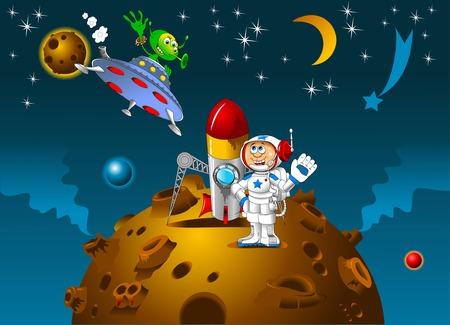 宇宙飛行士と遠くにある惑星に会ったエイリアン