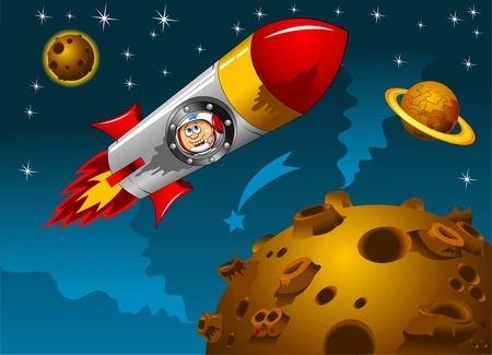 child rocket: rocket with astronauts on board the space  Illustration