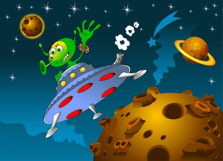 rocket with alien on board the space vector Vector