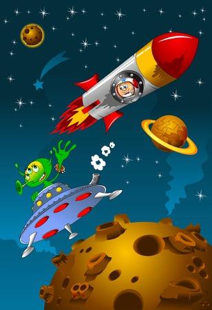 astronaut and alien met in deep space Vector
