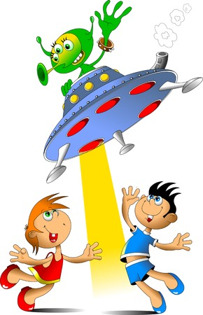 hover: girl and boy meet the spacecraft with aliens Illustration
