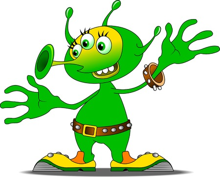 hover: Jolly Green alien in funny shoes, vector and illustration Illustration