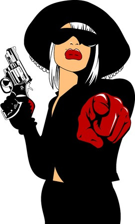 beautiful womans with big black gun, vector Illustration