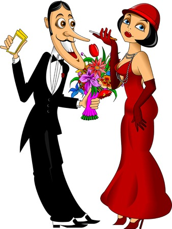 women smoking: man in a black tuxedo and a woman in a red dress