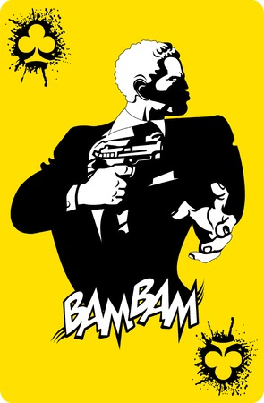 man gun: men in black suits with a weapon, vector and illustration
