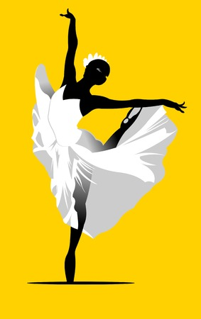 flexible woman: ballerina silhouette in a white dress on a yellow background