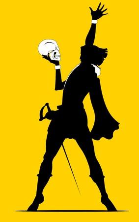 acteur speelt de rol van Hamlet, vector en illustratie