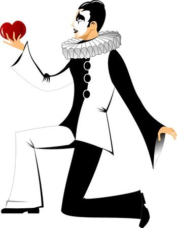 pierrot: Young sad clown gives his heart, vector,