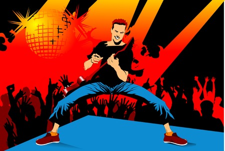 musician performs solo party on the red guitar. vector illustration Vector
