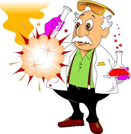 scheikunde leraar toont chemische ervaring, vector en illustratie Stock Illustratie