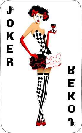 Joker game card with the image of the red and white joker Illustration