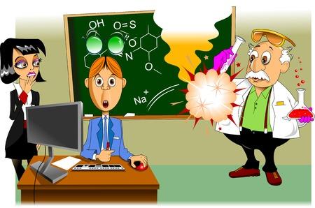 chemistry teacher shows chemical experience Vector