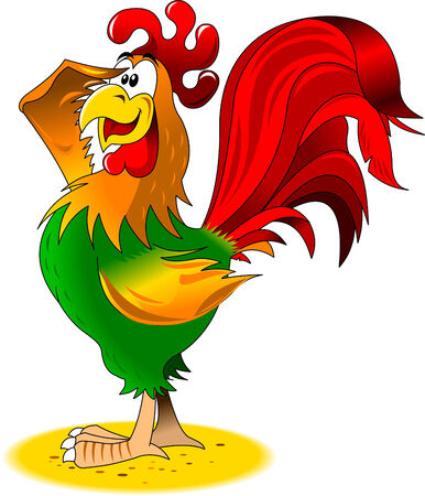 sun illustration: Rooster sits on a perch welcomes the sun, illustration Illustration