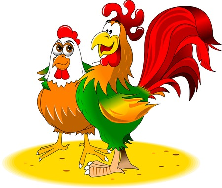 omnivores: green and red rooster chicken walk together Illustration