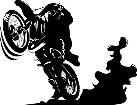 commits: Vector - A silhouette of a motorcycle racer commits high jump