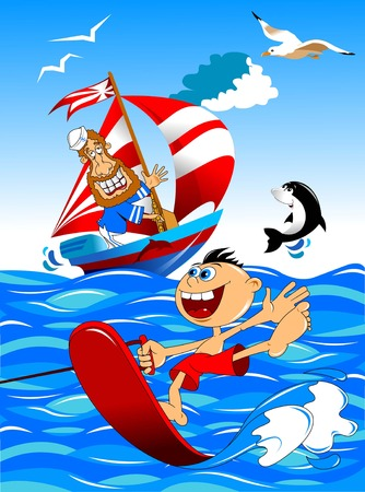 speed boat: boy riding a water board, vector and illustration