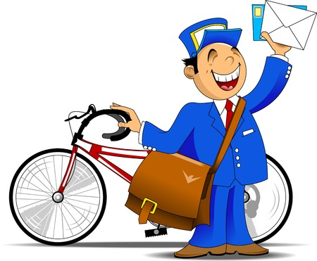 postman: postman in blue uniform with a big bag brought letters, vector