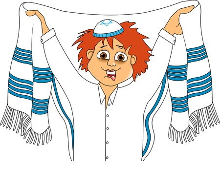 talit: Jewish teenager wears a tallit before prayer, vector