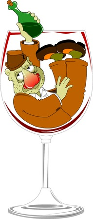 drunkard: drunk with a bottle in his hand drowning in a glass of wine;