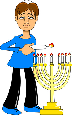 A man lights a candle for the holiday of Hanukkah, vector Illustration