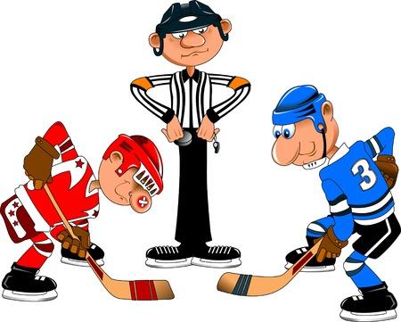 arbitros: �rbitro est� listo para realizar la ca�da en el centro del campo de hockey Vectores
