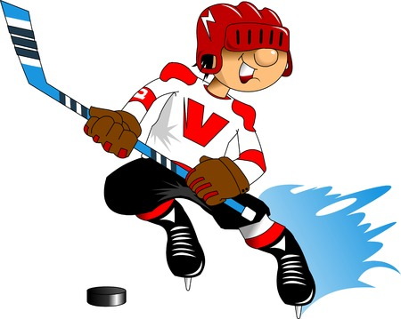 cartoon hockey: Jolly hockey player launches an attack on the opponents