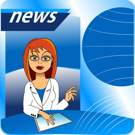 newscast: woman is a news program in a white suit; vector; Illustration