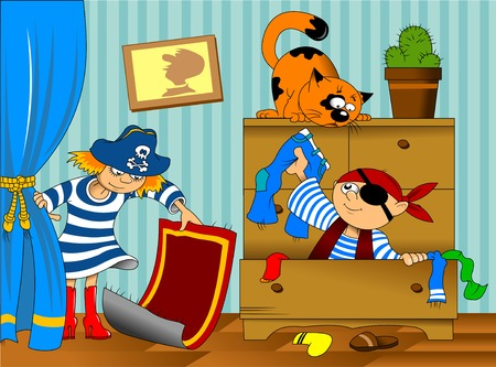 'young things': boy and girl in pirate costume looking for hidden treasure Illustration