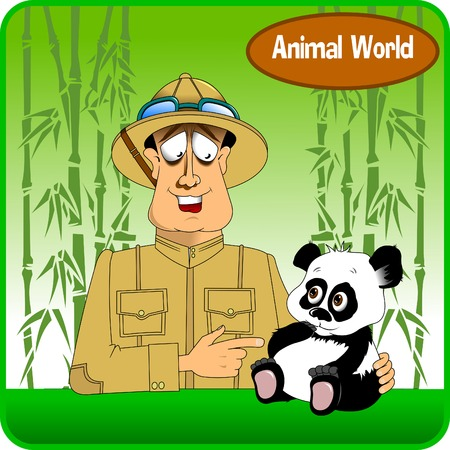 Merry hunter and a little panda with big eyes, vector Vector