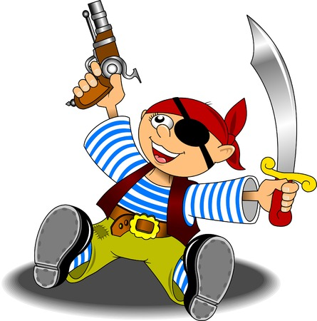 headscarf: little boy dressed as a pirate with a saber and a pistol