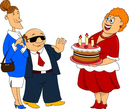 visitors: woman with cake welcomes visitors Illustration