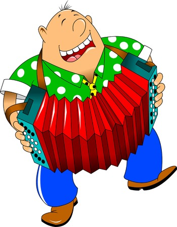 accordion: cheerful man playing the accordion and dancing Illustration