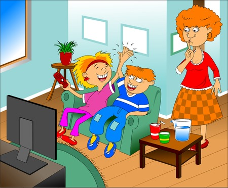 watching tv: Illustration of a happy children watching TV on a blue