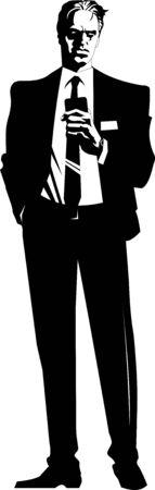break in: Hombre de negocios en traje negro y camisa blanca durante un descanso Vectores