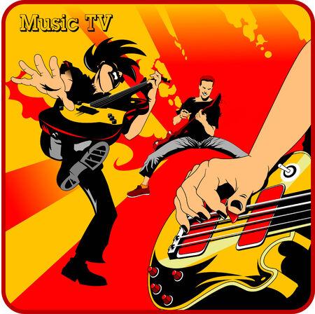 mediator: three rock musician playing guitar, vector illustration