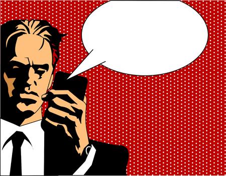 conversaciones: Hombre de negocios en traje negro y camisa blanca durante un descanso, fondo retro Vectores