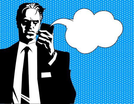 conversaciones: Hombre de negocios en traje negro y camisa blanca durante un descanso Vectores