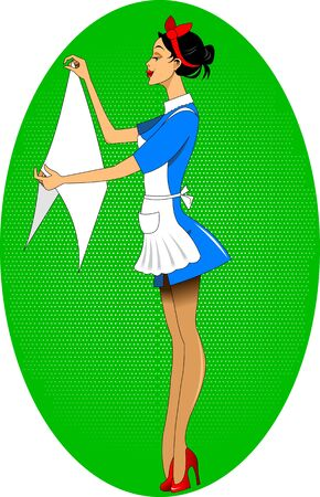 homemakers: maid hanging laundry to dry, vector and illustration