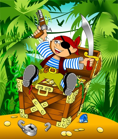 hoard: little boy dressed as pirate found gold, vector Illustration