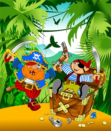 hoard: little boy dressed as pirate found gold, vector;