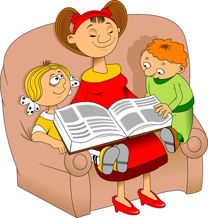 toy story: Mom reading an interesting book for children, vector Illustration
