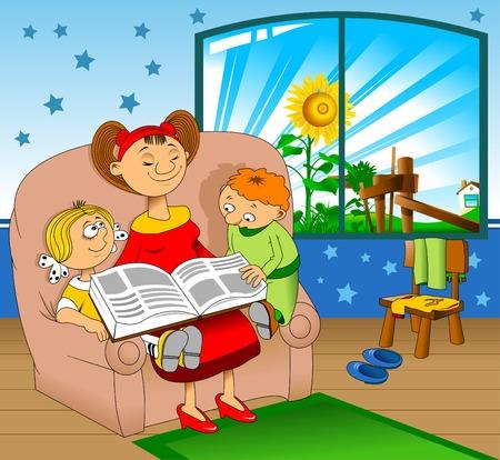 érdekes: Anya egy érdekes könyvet olvastam a gyermekek számára, vektor