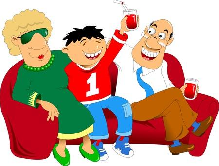 red couch: nonno; nonna e nipote che si siedono su un divano rosso