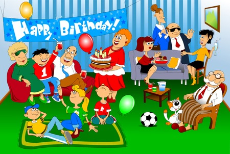 congratulate: A group of people came to congratulate the little boy on his birthday; birthday Illustration