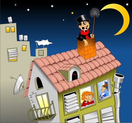 chimney sweep on the roof with a smile, looking at the moon