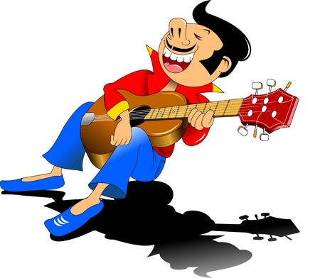 love song: cheerful guitarist sings a love song, vector and illustration Illustration