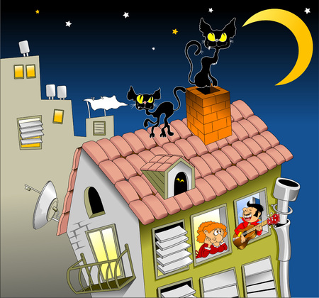 chimney sweep: two cats walk on a moonlit night on the roof of the house