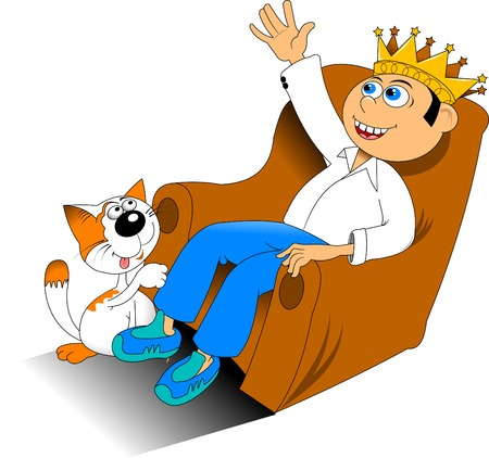 young man with a golden crown sits on the throne Vector